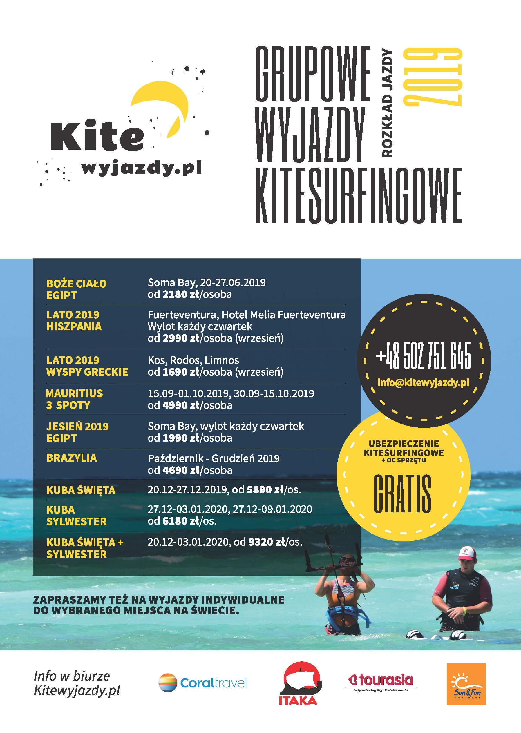 Rozkład Jazdy na 2019 rok Wyjazdy Kitesurfingowe